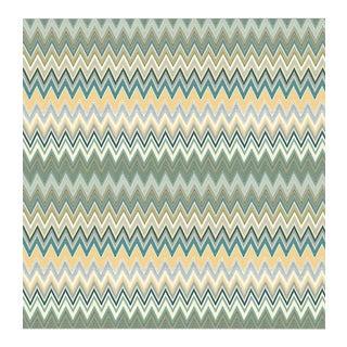 Sample, Scalamandre Zig Zag Multicolore Panel, Teal Gold Wallpaper For Sale