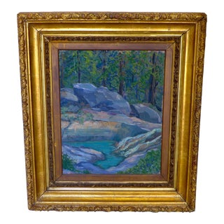 Transitional Serene Rock Creek Painting For Sale