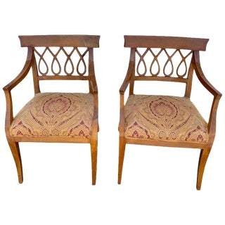Pair of Italian Neoclassic Olive Wood Armchairs For Sale