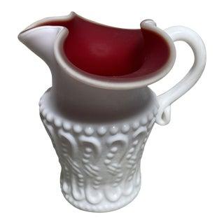 Vintage Kanawha Art Glass Milk Glass White & Red Overlay Creamer For Sale