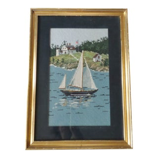 Vintage Sail Boats Needlepoint Picture Framed & Matted For Sale