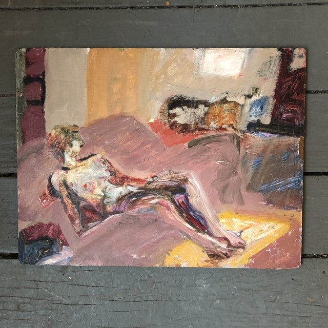 Vintage Original Expressionist Female Nude Oil Painting For Sale - Image 4 of 4