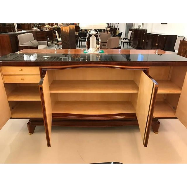 French Art Deco Palisander Buffet with Black Glass Top - Image 8 of 9