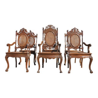 Set of 6 Anglo Chinese Accent Chairs For Sale