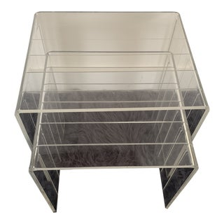 1980s Lucite Nesting Tables - Set of 2 For Sale