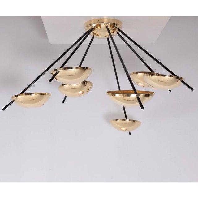 Brass 1 of 2 Huge Brass Sputnik Flush Mounts or Wall Lamps Attributed to Stilnovo For Sale - Image 7 of 8