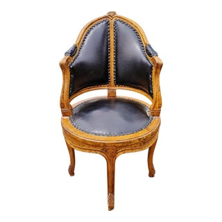 Early 20th Century Antique French Carved Walnut & Black Leather Barrel Corner Chair For Sale
