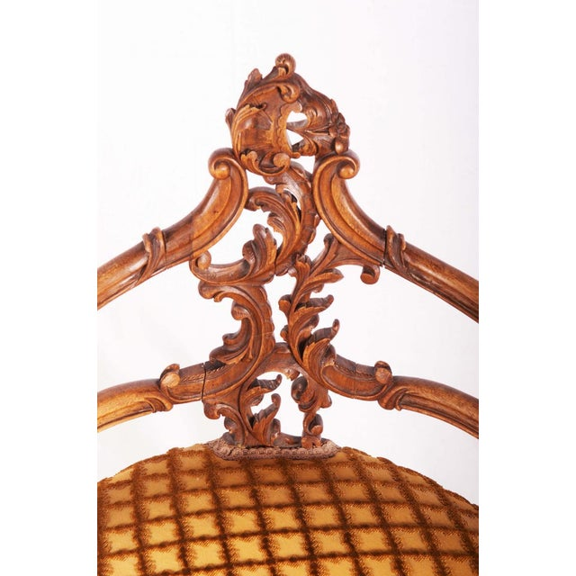 Carved Louis XV walnut corner chair, France, 1870 For Sale - Image 4 of 11