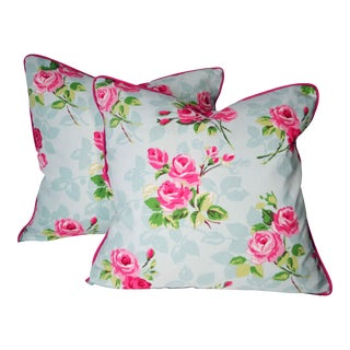 Floral Pillows With Canvas Back and Down Inserts- a Pair For Sale