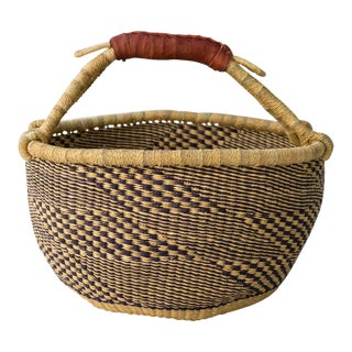 African Natural & Blue Market Basket For Sale
