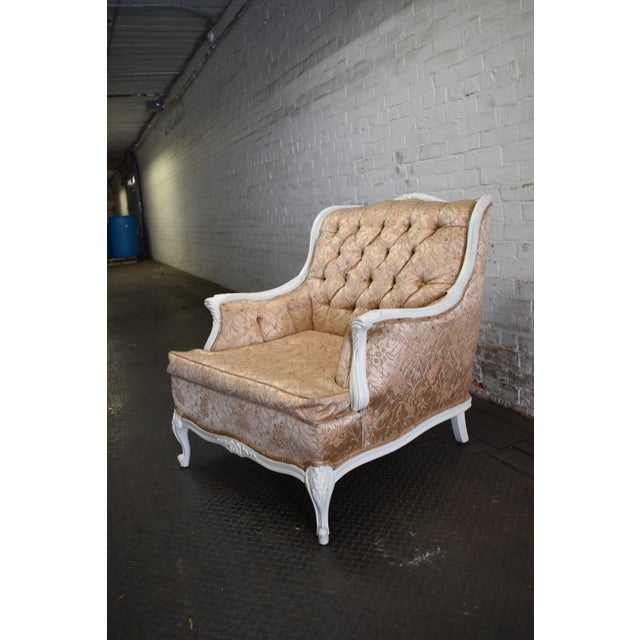 Fabric 1950s Vintage French Blush Pink Brocade and White Armchair For Sale - Image 7 of 10