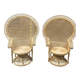 Boho Concentric Circle Peacock Chairs - a Pair For Sale