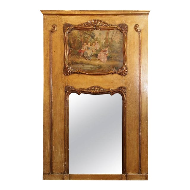Antique French Painted Trumeau - Image 1 of 6