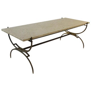 1950s Italian Brass and Marble Coffee Table For Sale