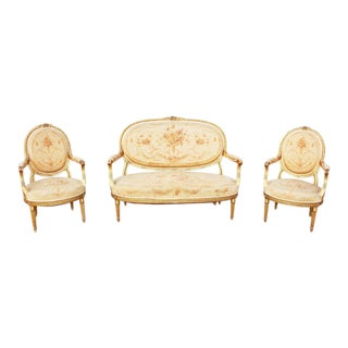 Late 19th Century Antique French Gilt Louis VI Salon Set- 3 Pieces For Sale