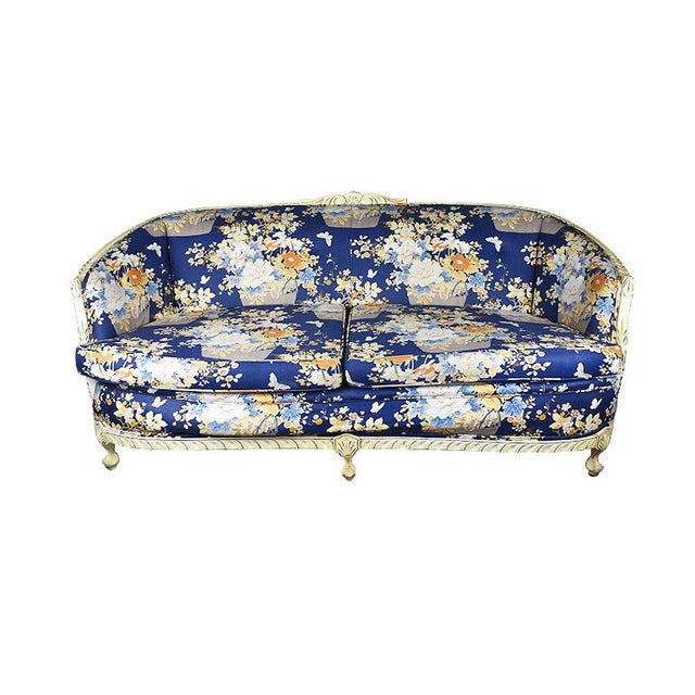 Blue Louis XVI Style Blue Floral Sofa With Carved Wood Frame - Seats 2 For Sale - Image 8 of 8