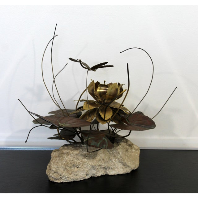 Mid Century Modern Brutalist Brass on Stone Table Sculpture Water Lily Jere Era For Sale In Detroit - Image 6 of 8