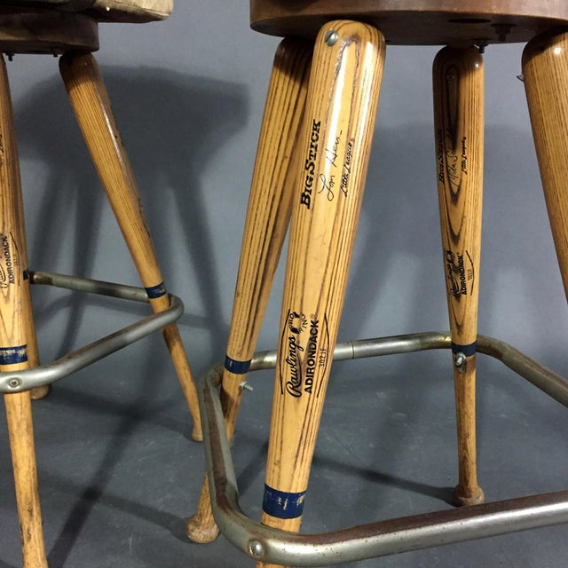 """Pair 1980s Baseball Bat 31.5"""" Stools, Vintage Plate Seats For Sale - Image 4 of 10"""