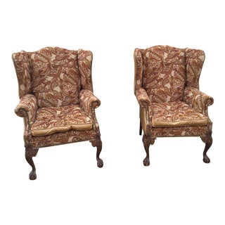 Vintage Leather and Hickory Fabric Chairs- a Pair For Sale