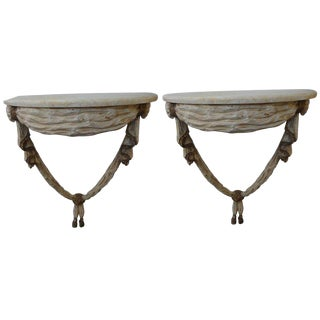 1920s Italian Neoclassical Style Painted and Gilt Wood Console Tables - a Pair