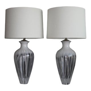 A Large Scale Pair Of Translucent Murano Glass Table Lamps For Sale