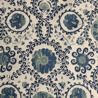 Lewis & Wood Carleton V Oxus Blues Linen Fabric- 3/4 Yard For Sale