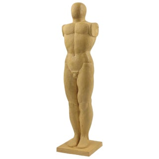 Mid-Century Modernist Terracotta Standing Nude Man Sculpture For Sale