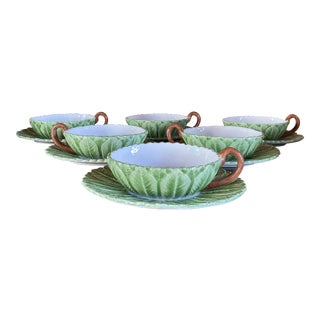 Mottahedeh Musee Des Arts Leaf Consommé Bowls With Stands - Set of 6 For Sale