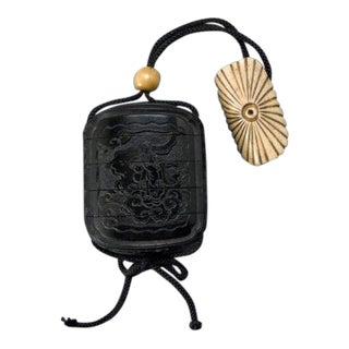 19th Century Antique Meiji Period Four Case Black Lacquer Inro With Ojime and Netsuke For Sale