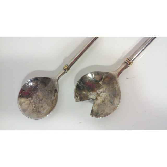 Modernist Silver Plated Serving Utensils - Pair - Image 4 of 6