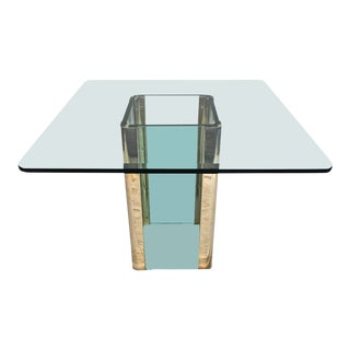 615975b3fc4d65 Glass and Brass Dining Table by Pace For Sale