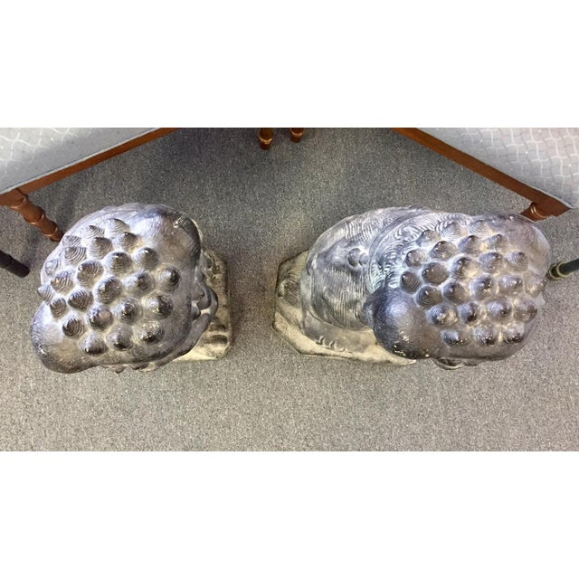 Concrete Concrete Rotten Stone Rubbed Foo Dog Statues - A Pair For Sale - Image 7 of 10