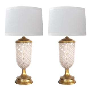 Murano Pink and White Lattacino Lamps by Dino Martens for Aureliano Toso - a Pair For Sale