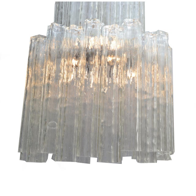 Italian Mid-Century Modern Two Tier Long Crystal Tronchi Shades Chandelier For Sale - Image 4 of 9