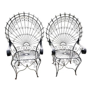 1960s Vintage Salterini Peacock or Fan Back Club Chairs- a Pair For Sale