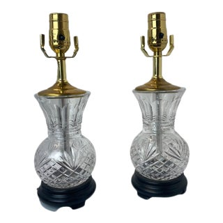 Vintage 1960s Crystal Table Lamps - a Pair For Sale
