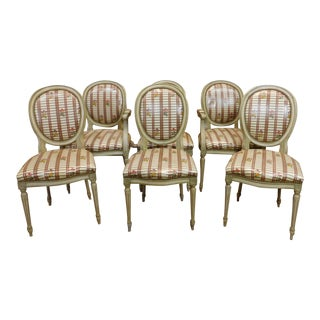 Painted Framed 1960s French Louis XVI Dining Chairs - Set of 6 For Sale
