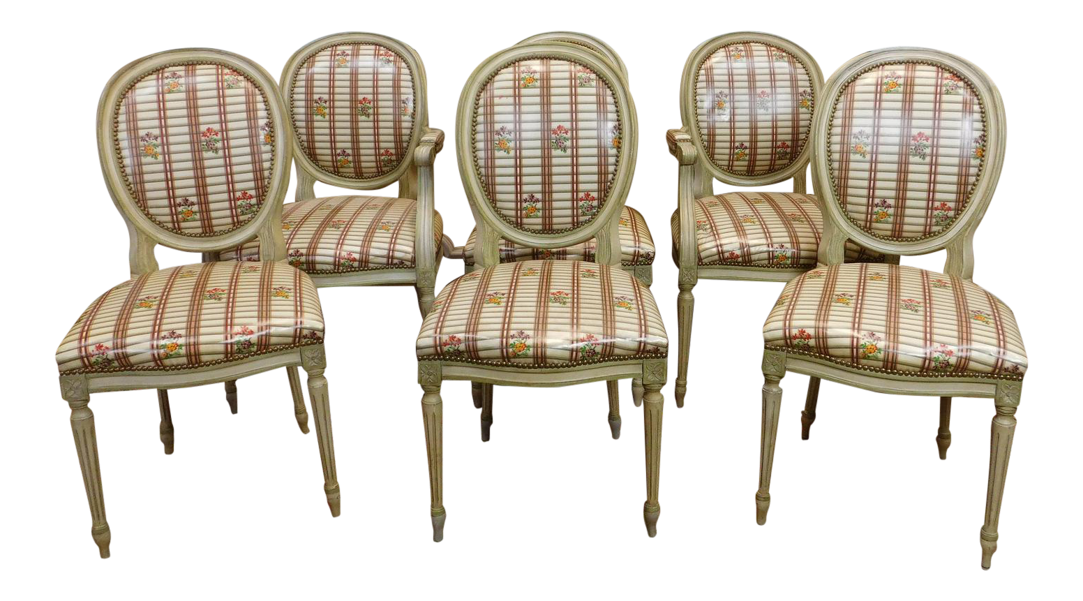 Painted Framed 1960s French Louis XVI Dining Chairs   Set Of 6