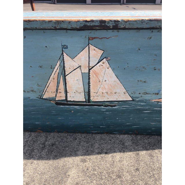 Truly one of kind antique painted pine chest having folk art decoration with beachy nautical theme. Beautiful original...