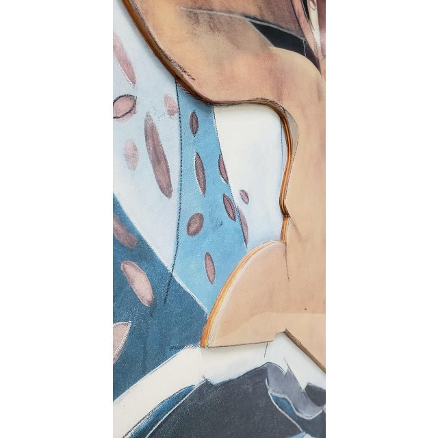 Vintage Cubist Mixed Media Reclining Nude C.1980s For Sale In San Francisco - Image 6 of 9