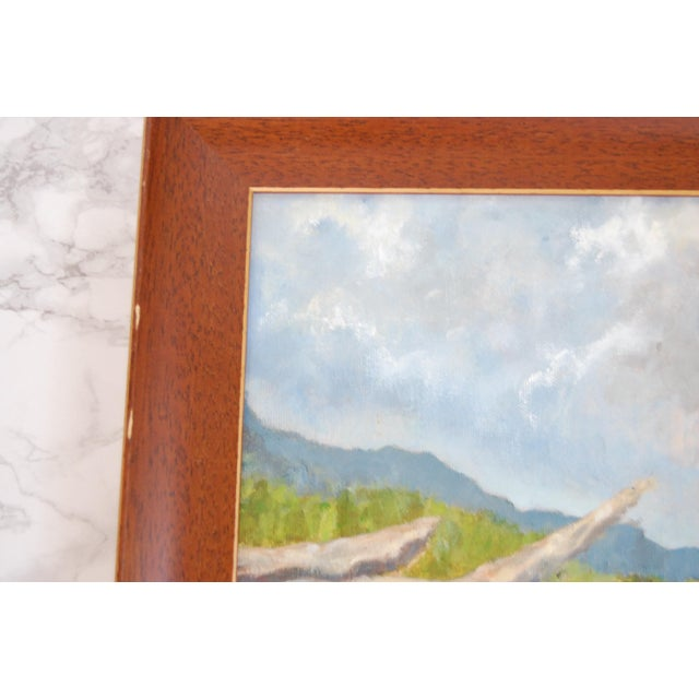 Vintage Lakeside Original Oil on Canvas Painting For Sale - Image 4 of 10