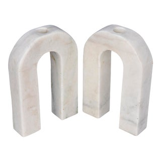 Corinth Decorative Candle Holder, Small in White Marble - Set of 2 For Sale