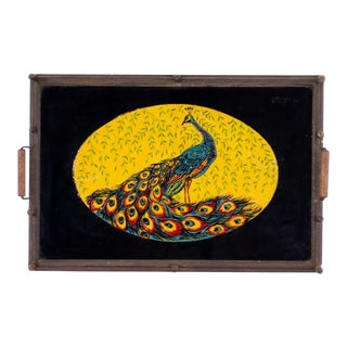 Mid-Century Glass Tinsel Painted Peacock Serving Tray For Sale