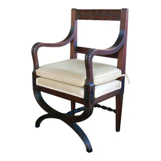 Handsome English Regency Style Curule-Form Armchair With Greek Key Relief For Sale