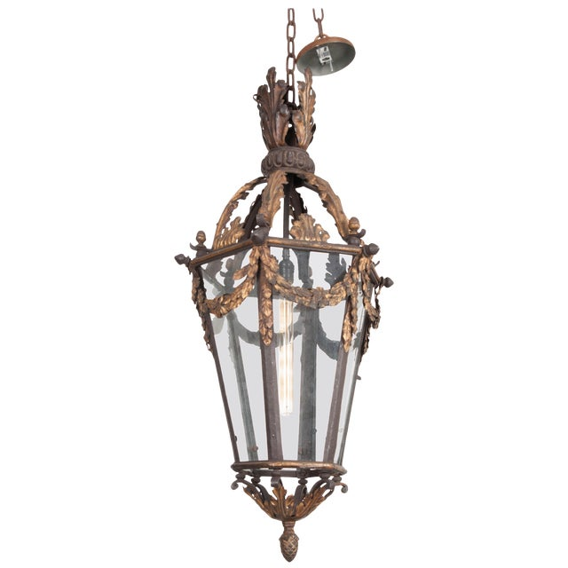 French 19th Century Iron and Gilt-Brass Single-Light Lantern For Sale