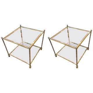 1960s Vintage Brass and Glass Two-Tiered End Tables, Attributed to Maison Jansen-A Pair For Sale