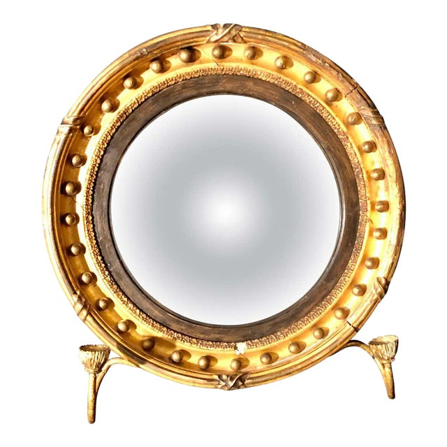 19th Century Federal Giltwood Bullseye Convex Mirror Wall Sconce For Sale