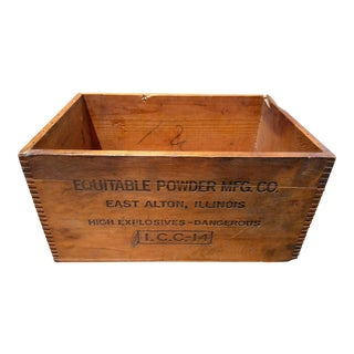 Early 20th Century Antique Explosives Wood Crate Box For Sale