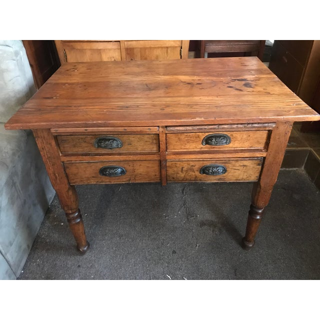 Wood Antique Oak Feed Table For Sale - Image 7 of 8