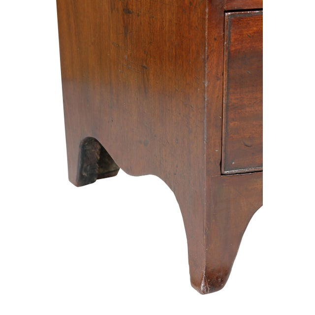 Metal George III Mahogany and Inlaid Bowfront Chest of Drawers For Sale - Image 7 of 11
